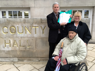 Brian Clark and Dorothy Lucy Centre user with petition