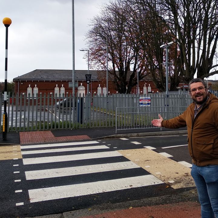 Tim with the new Shorncliffe Road / Folkestone West Zebra Crossing