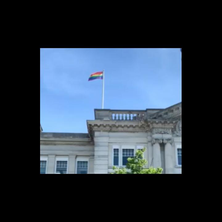 Pride flag over County Hall, Kent